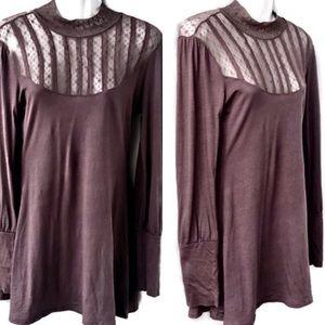 Free People NWT Long Sleeve Mini Dress w Lace, Sml